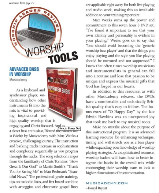 Independent review of our Advanced Bass DVDs in Worship Leader Magazine