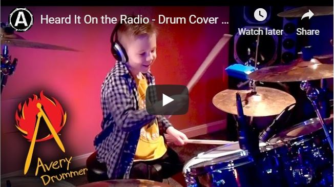 """Heard It On the Radio"" Avery 6 year old Drummer"