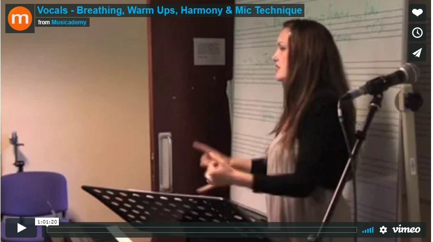 Vocals – Breathing, Warm Ups, Harmony & Mic Technique. Free seminar video footage.