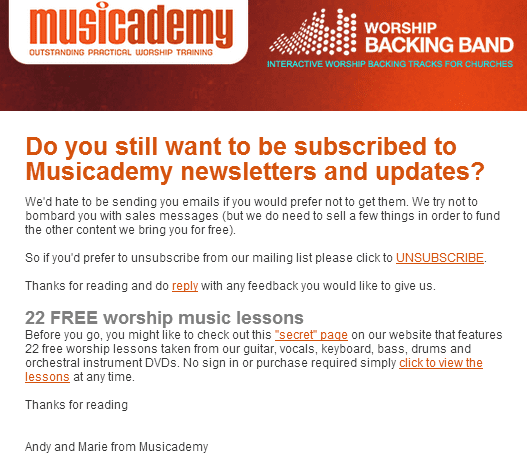 Why are we asking people to UNSUBSCRIBE from our mailing list?