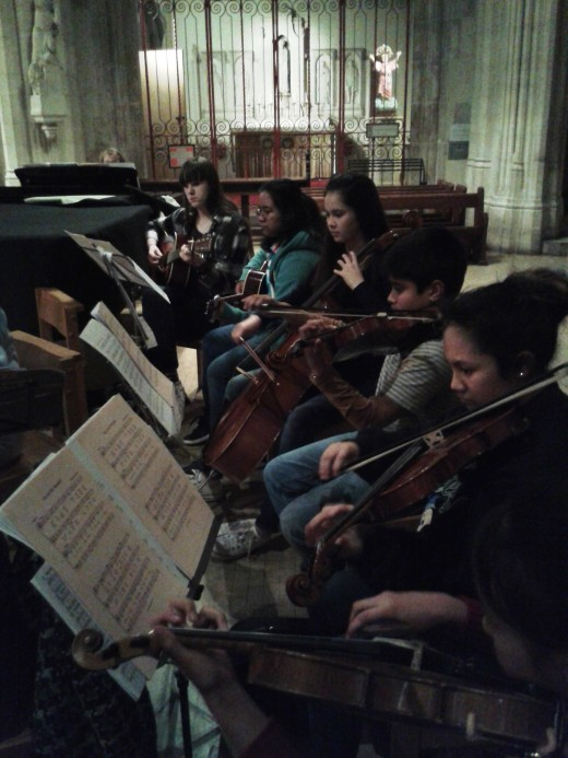 Teenagers playing at Southwark RC cathedral