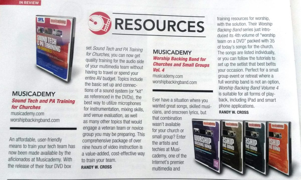 Worship Leader Magazine review of our PA Tech Training and Worship Backing Band DVDs