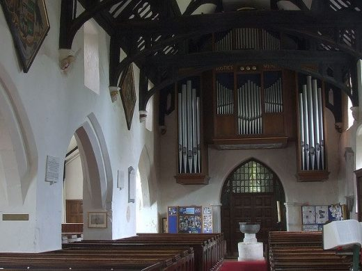 organist's photo of church interior with organ pipes