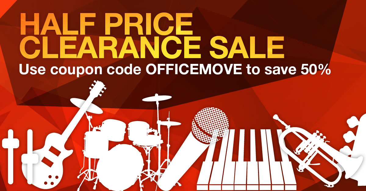 Musicademy office move HALF PRICE clearance sale: save 50% on top of our usual discounts